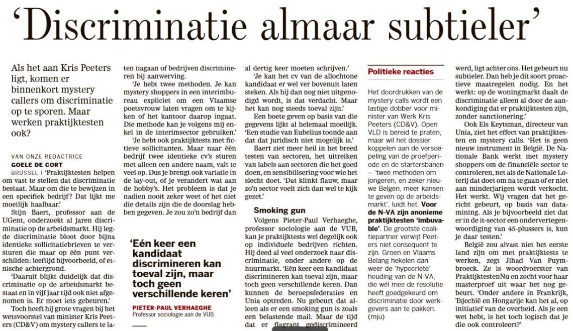 Interview in De Standaard 5 juli 2017